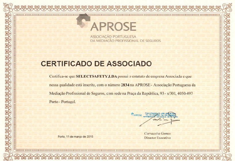 Certificado - Associação Portuguesa da Mediação Profissional de Seguros