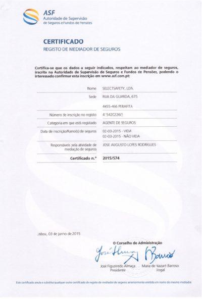 Certificado - Autoridade de Supervisão de Seguros e Fundos de Pensões